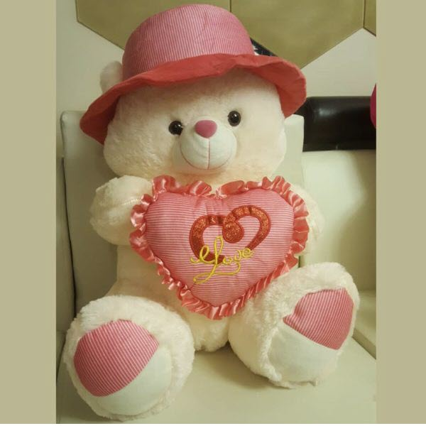 CUTE TEDDY BEAR 24 INCHES WITH PINK HEART PILLOW