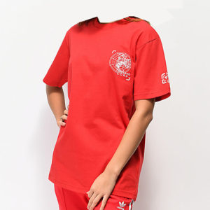 Crew Neck Red Printed T-Shirt